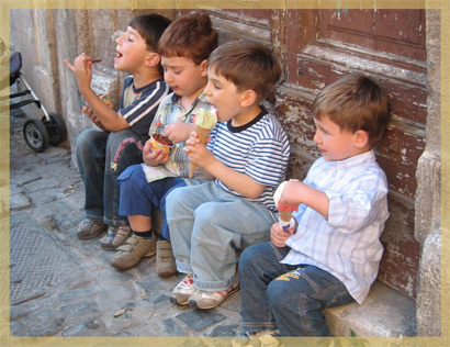 Children enjoying Gelato